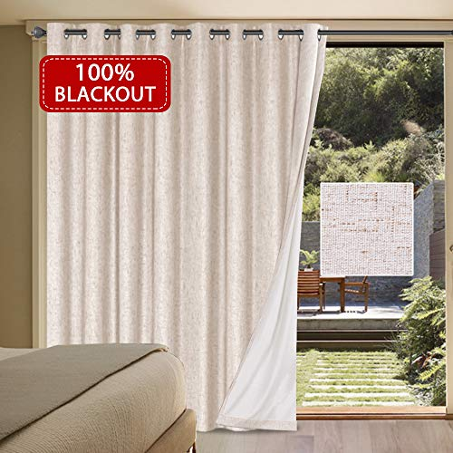 Waterproof Wide Width Space Smart Room Divider Thermal Insulated 100% Blackout Curtain Rich Linen Anti Rust Grommet Top - Patio Door Curtain Panel in Natural Color - 100'W x 96'L/ 8.3'W x 8'L