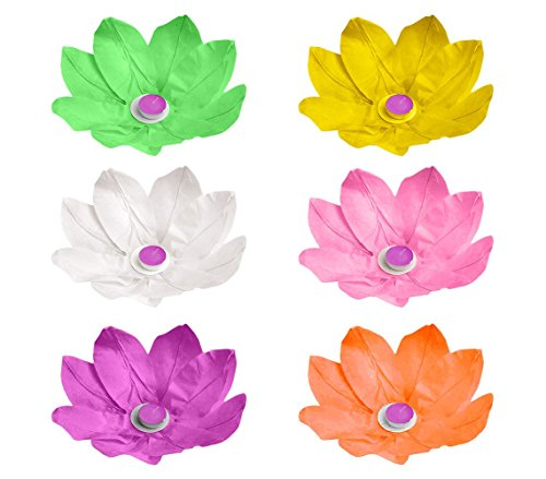 747011 Pack da 6 lanterne fiore di loto galleggianti 30 x 30 cm colori assortiti. MEDIA WAVE store ®