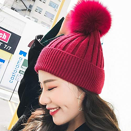 miwaimao Mütze für Herbst und Winter, Strickmütze, dick, warm, einfarbig, für den Winter, für Outdoor-Wärme (Farbe, 3), 7