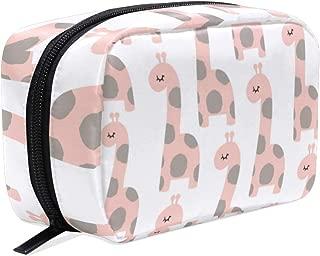 Giraffe Cosmetic Bag Black Zipper Storage Bag Portable Ladies Travel Square Makeup Brushes Bag