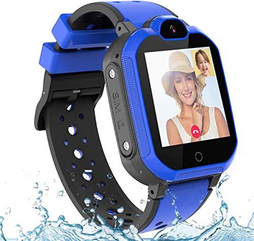 BAIDOLL Reloj inteligente resistente al agua, rastreador GPS para niños, pantalla táctil, cámara, chat de voz, despertador, para niños y niñas, regalo para estudiantes, color azul