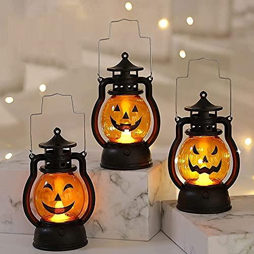 WULOVEMI 3 Stück Halloween Laterne Kleine Öllampe Ornament Kürbis Lampe LED Tischlaternen Schatten Garten Dekorationen Weihnachten Party Requisiten Geschenk Kinder Geschenke