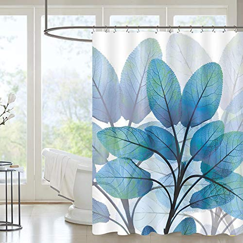 Jasion Watercolor Plant Blue Leaves Shower Curtain Set Waterproof Fabric Bathroom Curtains Home Bath Decor with 12 Hooks 72 X 72 Inches