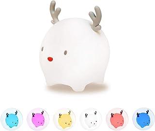 Veilleuse Portable Enfant, Fansteck Veilleuse LED Bébé Chambre Lampe de Faon avec 6 Couleurs Modes Respiration, Chronométr...