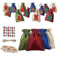 Yardwe Diyアドベントカレンダーキットぶら下げメリークリスマスカレンダー無地小さな巾着袋トナカイベル番号ステッカー子供のための木製クリップストリング子供