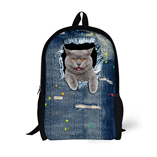 HUGS IDEA Rucksack für Kinder mit Katzenkopf-Motiv, Jeansblau, Dog9 (Blau) - Y-CA4916C