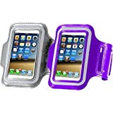[2Pack] Water Resistant Cell Phone Armband:CaseHQ 5.2 Inch Case for iPhone X,8,7,6,6S,SE,5C,5S,and Galaxy S5,Google Pixel-Adjustable Reflective Running Workout Gym Band,Key Holder-Purple+Black