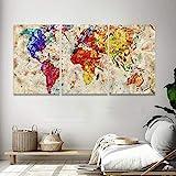 Quadro Decorativo De Parede Sala 120x60 Mapa Mundi Cores Abstrato Kit