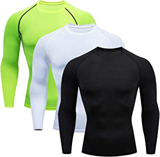 Milin Naco 3 Pack Men's Cool Dry Baselayer Tops Long Sleeve Compression Shirts