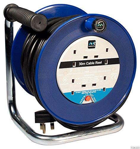 Masterplug LDCC3013/4BL Kabeltrommel, Stromverteiler mit 4 Steckdosen, 13 A, mit Thermowächter und Reset-Knopf, 30 m Originalverpackung