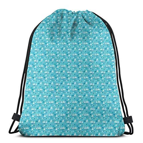 Kordelzug Rucksack Unisex Tasche für Fitnessstudio Reisen, Unterwasser Meer mit Schildkröten Seepferdchen Muscheln und Schwimmboot