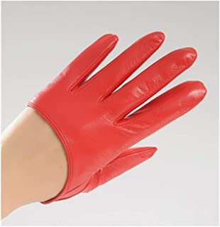 SHENTIANWEI Women's Leather Gloves Thin Lace Sunscreen Backless Leather Touch Screen Gloves (Color : Red, Size : S)