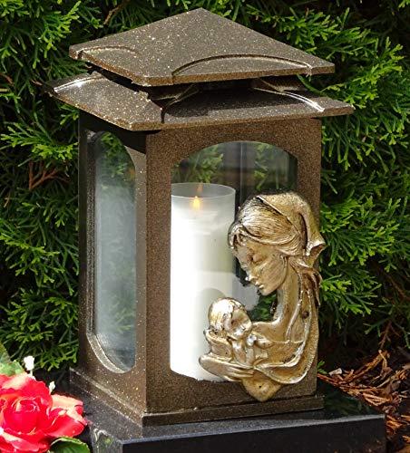♥ Graflantaarn graflamp Heilige Maria Brons 28,0 cm met grafkaars grafversiering graflicht lantaarn kaars lamp mariabeeld Madonna