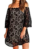 MIHOLL Women's Off Shoulder Lace Shift Loose Mini Dress (XX-Large, Black)