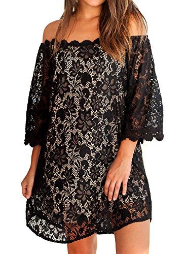 MIHOLL Women's Off Shoulder Lace Shift Loose Mini Dress (XX-Large, Black)