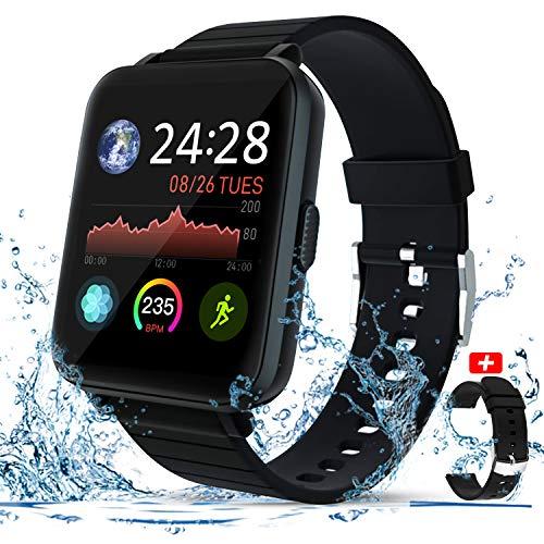 Smartwatch, Zagzog 1,4''Vollfarb-Touchscreen Wettervorhersage GPS-Tracking IP68 wasserdicht Fitness Sportuhr Unisex mit Schrittzähler Herzfrequenz Schlafüberwachung für IOS/Android