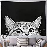 Black Cat Trippy Tapestry, Wall Hanging Cute Animal Aesthetic Tapestries Handmade Cartoon Black Blanket Large Hippie Tapestry Wall Arts Craft for Kids Room Bedroom Home Decor 130x150cm/51.2x59.1in