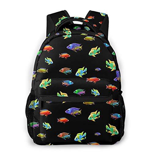 Cichlid Fish School African Cichlids Aquarium Keepers Breeders Gift Causal Daypack Rucksack Vintage College School Bags Multipurpose Laptop Backpack for School/Business/Work/Men/Women