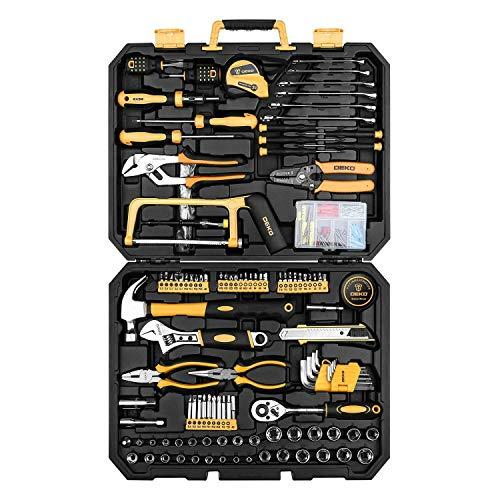 DEKO 198-teiliges Werkzeugkoffer für die Haushaltsreparatur, füllt und hochwertig, General Haushalt mit Schraubenschlüssel und Kunststoff Werkzeug-Box