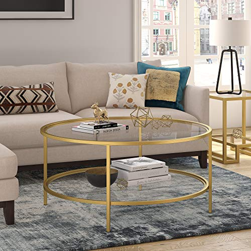 Henn&Hart Round coffee table, Gold, 17' H x 36' L x 36' W