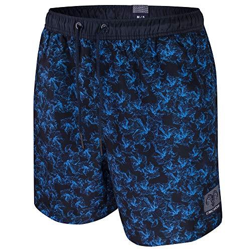Ceceba Herren Badeshorts Badehose Taschen | Übergrößen (8XL | 18, Navy mit blauen Blüten)