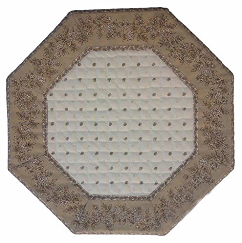 Set de table octogonal exclusif écru beige cadre fleur beige