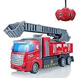 Voitures télécommandées, voiture télécommandée - Camion de pompiers télécommandé avec camion de pompiers à échelle extensible avec lumières pour garçons, filles, enfants