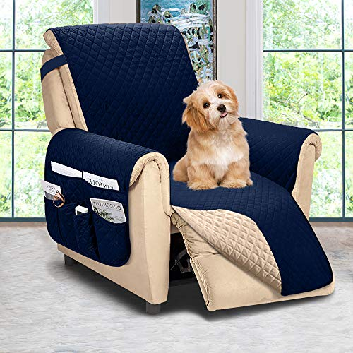 ASHLEYRIVER Recliner Chair Cover,Recliner Slipcover, Recliner Covers for Dogs,Recliner Slipcover,Recliner Protector(Recliner Medium:Navy Blue/Brown)