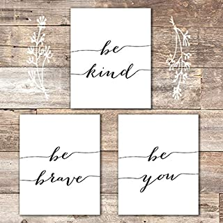 Be Kind Be Brave Be You Art Prints (Set of 3) - Unframed - 8x10 | Inspirational Wall Art