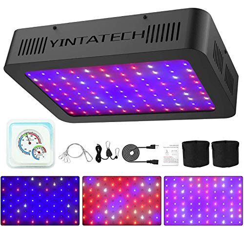 YINTATECH 1000W Watt LED Grow Light Full Spectrum Growing Lamp for Indoor Hydroponic Greenhouse Plants Veg and Flowers with Double Switch, Daisy Chain, Adjustable Rope Hanger, Hygrometer Thermometer