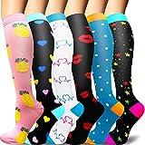 Sooverki calcetines de compresión para mujeres y hombres 20-25 mmhg es el mejor graduado atlético, correr, volar, viajar, enfermeras 12-multicolor-6 pares s/m