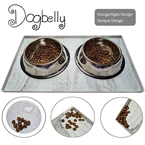 Dogbelly® 50 x 30 cm rutschfeste Napfunterlage Unikat für Katze oder Hund, Fressnapfunterlage, hoher Rand, Für Schuhmatte u. Unterlage