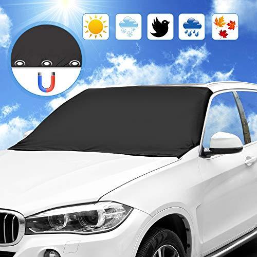 omitium Frontscheibenabdeckung, Autoscheibenabdeckung Magnet Faltbare Sonnenschutz Regenschutz Schneeschutz Autoabdeckung Windschutzscheibenabdeckung 210 x 120cm, Schwarz