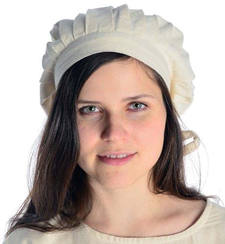 HEMAD Damen Mittelalter Haube Baumwolle, Beige, Einheitsgröße