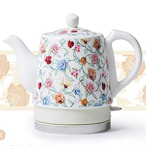 Tetera eléctrica inalámbrica para té, tetera eléctrica blanca inalámbrica de cerámica, jarra retro de 1,2 l, 1350 W hierve agua rápidamente para té, café, sopa, avena, base extraíble, protección para