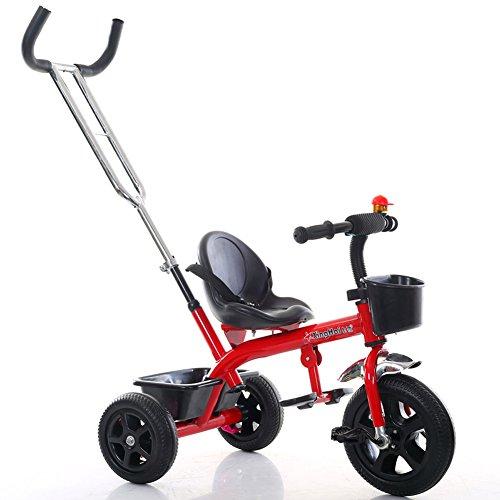 NAUY @ Triciclo ligero para niños 1-3-6 años Carruaje para bebés Niños y niñas Bicicletas Cochecito para bebés con Putter Sillas de paseo (color : Rojo)