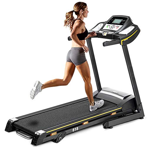 Julyfox Folding Running Treadmill Soft Drop, Incline Quiet Electric 2.25 HP Motorized Home Running Walking Jogging Exercise Machine W/Heart Rate Monitor Cup Holder Safety Key Treadmills