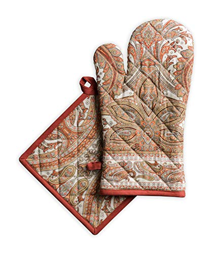 Maison d' Hermine Kashmir Paisley 100% Cotton Set of Oven Mitt (7.5 Inch by 13 Inch) and Pot Holder (8 Inch by 8 Inch) for BBQ   Cooking   Baking   Grilling   Microwave   Thanksgiving/Christmas