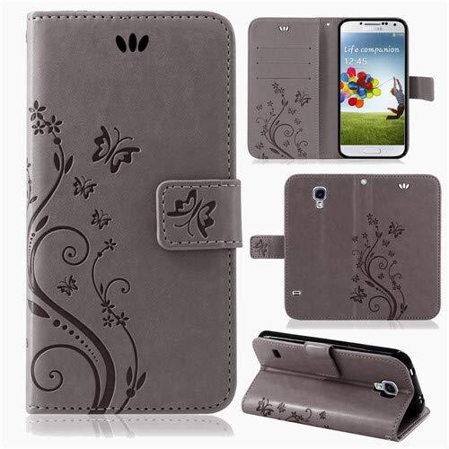 betterfon | Flower Case Handytasche Schutzhülle Blumen Klapptasche Handyhülle Handy Schale für Samsung Galaxy S4 Mini Grau