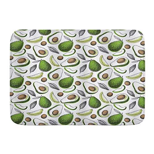 LiminiAOS Badematte Teppich, Bio Avocado Blätter Detox Antioxidans Lebensstil Bleiben Sie jung drucken, rutschfeste saugfähige Ultra weiche Badezimmer Dekor Matten