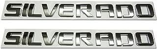 2pcs Silverado Nameplate Letter Decal Emblems 3D Badge Replacement for Silverado 1500 2500HD 3500HD Silverado (Chrome)