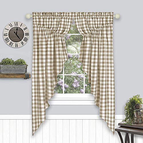 "Woven Trends Farmhouse Curtains Kitchen Decor, Buffalo Plaid Gathered Swags, Classic Country Plaid Gingham Checkered Design, Farmhouse Decor, Window Curtain Treatments (Taupe, 72"" W x 63"" H Swag Pair)"