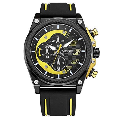 Megir - Reloj de pulsera para hombre, deportivo, con correa de silicona negra y amarilla, cronógrafo, calendario, resistente al agua