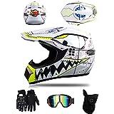 ZLCC Casco da Motocross, Casco da Motociclista Unisex,Nuovi Tema dello squalo caschi da motocross Casco con Occhiali/Maschera/Guanti regalo di ideale per bambini (C,L)