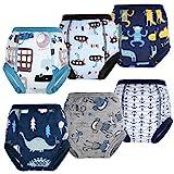 Flyish Lot de 6 Pantalons d'entraînement pour Pot pour bébé sous-vêtements d'entraînement pour Enfants sous-vêtements pour bébé pour garçon et Fille Couches Anti-fuites, Bleu à motifs, 3 Ans