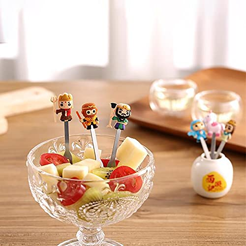 PPuujia Tenedor de fruta 6 unids/set encantador de dibujos animados alimentos animales frutas tenedores postre tenedores de comida selecciones para niños accesorios utensilios de cocina
