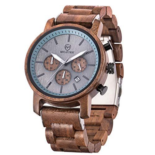 MUJUZE Holzuhr Herren, Holz Uhr - Gehäuse und verstellbares Armband aus massivem Naturholz Japanisches Quarzwerk Armbanduhr für Männer Geschenke