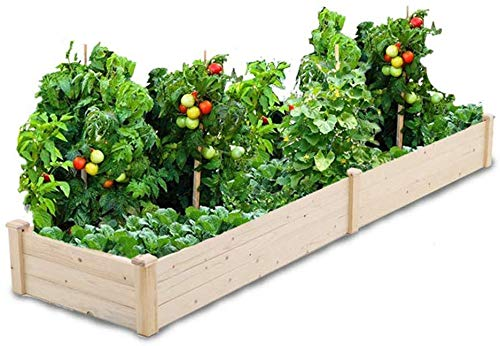 Oakmont Pure Wooden Raised Garden Bed 8ft Planter Box Kit for Vegetables Herbs, Flowers Natural