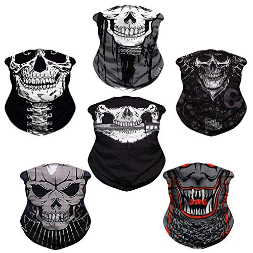 JOEYOUNG Headwear, Bandana Neck Gaiter Face Cover Mask Scarf Balaclava B-Skull 1 (pack of 6)