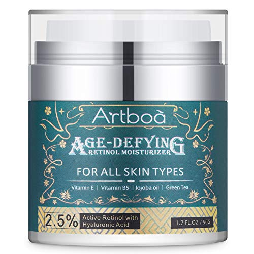 Artboa Age-defying Retinol Moisturizer, Anti Aging Facial Cream, Anti Wrinkle Face Lotion for All Skin Types with Vitamin E, 2.5% Retinol Complex, Hyaluronic Acid 1.7 fl oz.